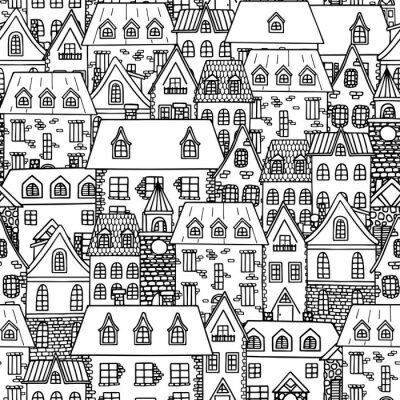 Old city seamless pattern. Hand drawn old houses, city landscape. Vector illustration.