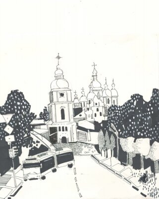 Old european city street with churches and park on the background in the style of a hand-drawn line sketch. City romantic landscape. Black and white graphic illustration. Kiev