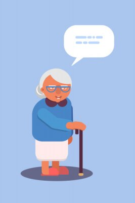 Old lady with walking stick flat design. Vector illustration