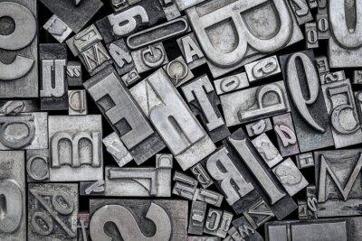 Sticker old letterpress metal type printing blocks