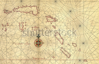 Sticker Old map and Compass Rose