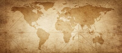 Sticker Old map of the world on a old parchment background. Vintage style. Elements of this Image Furnished by NASA.