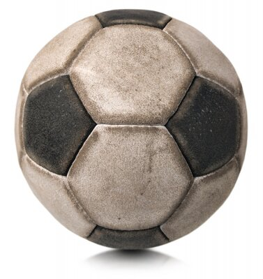 Sticker Old Soccer Ball isoliert auf weiß / Detail eines alten schwarz-weißen Fußball isoliert auf weißem Hintergrund