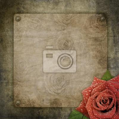 Old Vintage-Papier auf strukturierten Hintergrund mit Rose