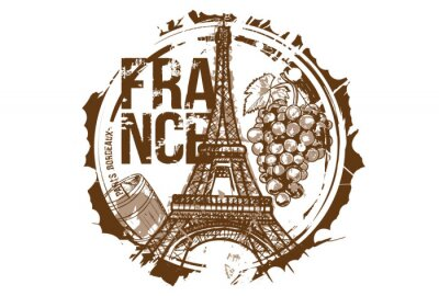 Old wood barrel and a bunch of grapes and Eiffel Tower.  Bordeaux, Paris, France city design. Hand drawn illustration.