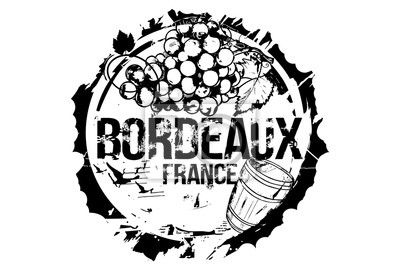 Old wood barrel and a bunch of grapes. Bordeaux, France city emblem. Hand drawn illustration.