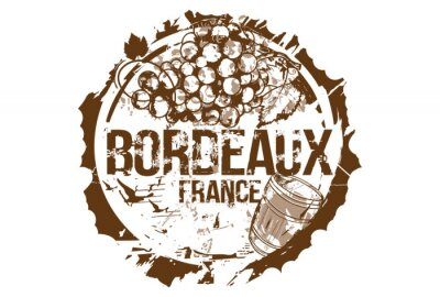 Old wood barrel and a bunch of grapes. Bordeaux, France. Emblem for the region of Bordeaux. Hand drawn illustration.