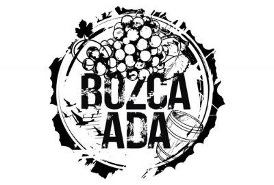 Old wood barrel and a bunch of grapes. Bozcaada, Turkey. Emblem for the region of Bozcaada. Hand drawn illustration.