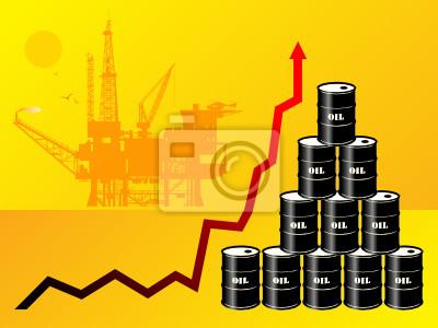 Ölfässer mit Preis Graph, Vektor-Illustration