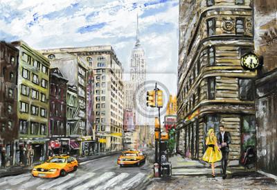 Ölgemälde auf Leinwand, Straßenansicht von New York, Mann und Frau, gelbes Taxi, moderne Grafik, amerikanische Stadt, Abbildung New York
