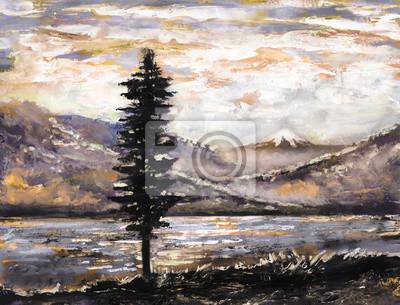 Ölgemälde - Berg, See, Nebel, Baum. Illustration der wilden Natur. Moderne Kunstwerke mit Berg.