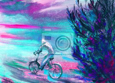 Ölgemälde, Freizeit, Mann auf dem Fahrrad, Hand gezeichnet, kreativen Hintergrund