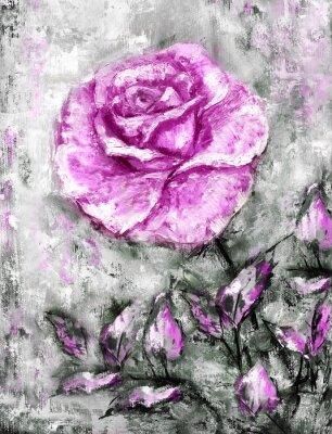 Ölgemälde, Rose auf Leinwand, von Hand gezeichnet