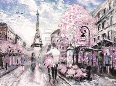 Ölgemälde, Straßenansicht von Paris. .europäische Stadtlandschaft