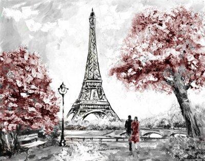 Ölgemälde, Straßenansicht von Paris. Zarte Landschaft