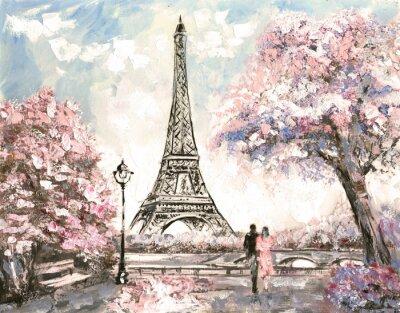 Ölgemälde, Straßenansicht von Paris. Zarte Landschaft, Frühling