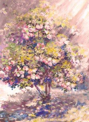 Ölgemälde, zarter blühender Busch mit Blume, Frühlingslandschaft