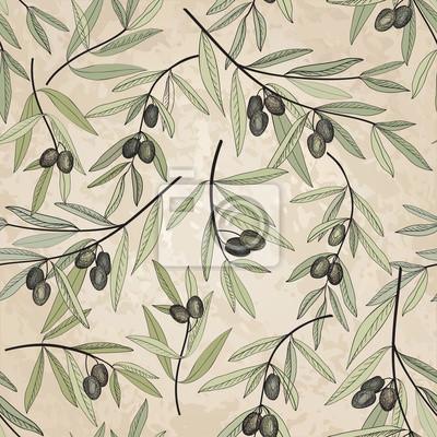 Sticker Olive seamless pattern Olive branch background label  pack