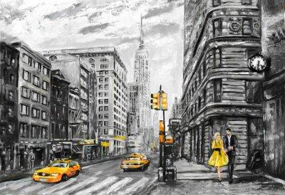 Ölmalerei auf Leinwand, Straßenansicht von New York, Mann und Frau, gelbes Taxi, moderne Grafik, New York in den grauen und gelben Farben, amerikanische Stadt, Abbildung New York