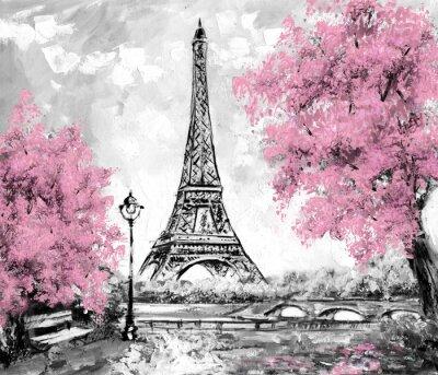 Ölmalerei, Paris. Europäischen Stadtlandschaft. Frankreich, Tapete, Eiffelturm. Schwarz, weiß und rosa, Moderne Kunst