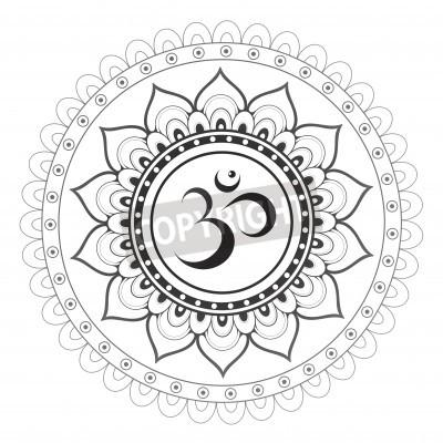 Sticker Om, Aum sanskrit Symbol mit Mandala Verzierung