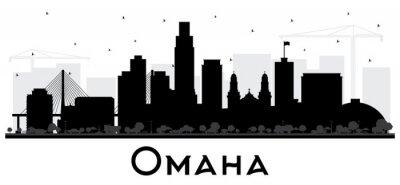 Omaha Nebraska City Skyline Silhouette with Black Buildings Isolated on White.