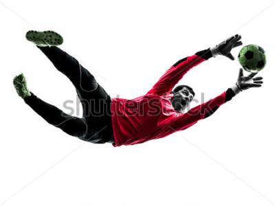 Sticker one caucasian soccer player goalkeeper man catching ball in silhouette isolated white background