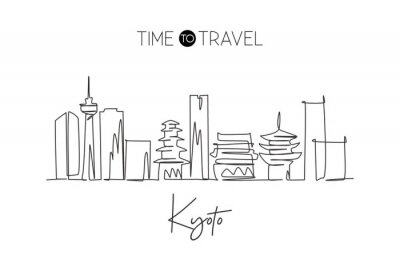 One continuous line drawing Kyoto city skyline, Japan. Beautiful landmark. World landscape tourism and travel vacation poster art. Editable stylish stroke single line draw design vector illustration