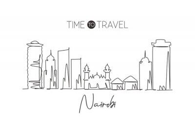 One continuous line drawing Nairobi city skyline, Kenya. Beautiful landmark postcard. World landscape tourism and travel vacation. Editable stylish stroke single line draw design vector illustration