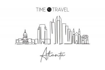 One continuous line drawing of Atlanta city skyline, USA. Beautiful landmark. World landscape tourism travel vacation poster print wall decor art. Stylish single line draw design vector illustration