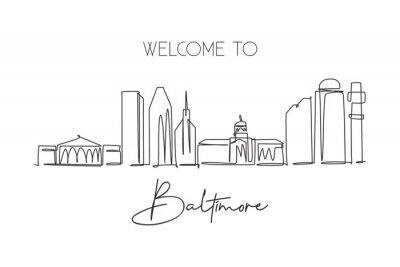 One continuous line drawing of Baltimore city skyline, USA. Beautiful landmark. World landscape tourism travel vacation poster art. Editable stylish stroke single line draw design vector illustration