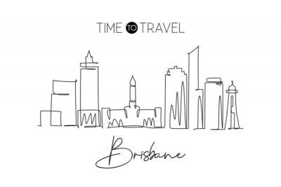One continuous line drawing of Brisbane city skyline, Australia. Beautiful landmark. World landscape tourism travel vacation poster. Editable stylish stroke single line draw design vector illustration
