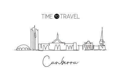 One continuous line drawing of Canberra city skyline, Australia. Beautiful landmark. World landscape tourism travel vacation poster. Editable stylish stroke single line draw design vector illustration