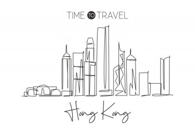 One continuous line drawing of Hong Kong city skyline, China. Beautiful landmark wall decor poster print. World landscape tourism travel vacation. Stylish single line draw design vector illustration