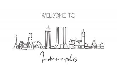 One continuous line drawing of Indianapolis city skyline, United States. Beautiful landmark. World landscape tourism travel poster. Editable stylish stroke single line draw design vector illustration
