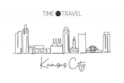 One continuous line drawing of Kansas city skyline, USA. Beautiful landmark. World landscape tourism travel vacation poster print. Editable stylish stroke single line draw design vector illustration