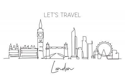 One continuous line drawing of London city skyline. Beautiful city skyscraper. World landscape tourism travel vacation home wall decor poster print concept. Single line draw design vector illustration
