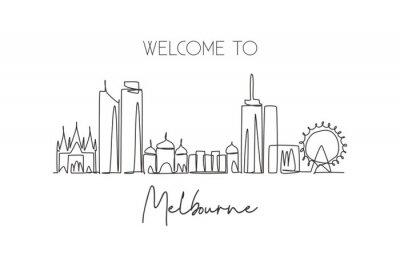 One continuous line drawing of Melbourne city skyline, Australia. Beautiful landmark. World landscape tourism and travel vacation. Editable stylish stroke single line draw design vector illustration