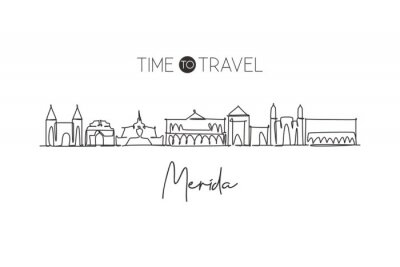 One continuous line drawing of Merida city skyline, Mexico. Beautiful landmark home decor poster print. World landscape tourism and travel vacation. Stylish single line draw design vector illustration