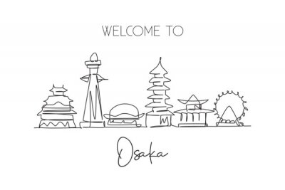 One continuous line drawing of Osaka city skyline, Japan. Beautiful landmark. World landscape tourism and travel vacation poster. Editable stylish stroke single line draw design vector illustration