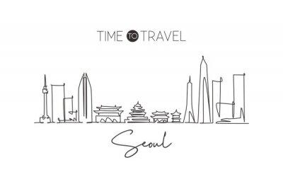 One continuous line drawing of Seoul city skyline, South Korea. Beautiful landmark home decor poster print. World landscape tourism travel vacation. Stylish single line draw design vector illustration