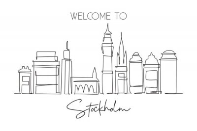 One continuous line drawing of Stockholm city skyline, Sweden. Beautiful landmark. World landscape tourism travel home wall decor art poster print. Stylish single line draw design vector illustration