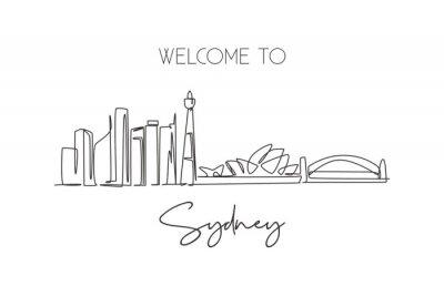 One continuous line drawing of Sydney city skyline, Australia. Beautiful landmark. World landscape tourism travel vacation poster. Editable stylish stroke single line draw design vector illustration