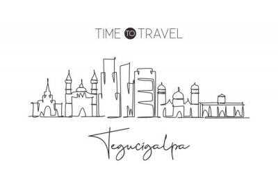 One continuous line drawing of Tegucigalpa city skyline, Honduras. Beautiful landmark home decor poster. World landscape tourism travel vacation. Stylish single line draw design vector illustration
