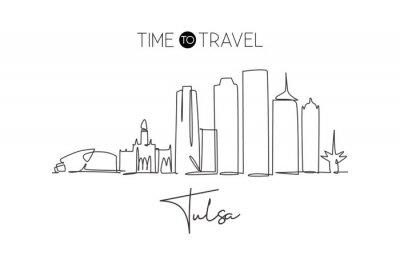 One continuous line drawing of Tulsa city skyline, Oklahoma. Beautiful landmark. World landscape tourism travel vacation poster art. Editable stylish stroke single line draw design vector illustration