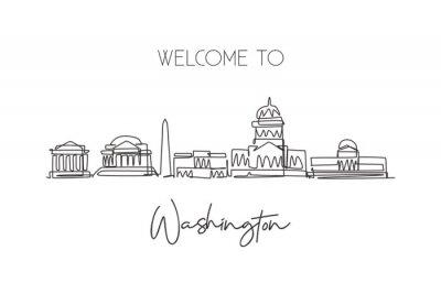 One continuous line drawing of Washington city skyline, United States. Beautiful landmark. World landscape tourism vacation poster print wall decor. Stylish single line draw design vector illustration