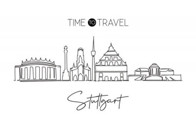 One continuous line drawing Stuttgart city skyline Germany. Beautiful skyscraper. World landscape tourism travel vacation wall decor poster concept. Stylish single line draw design vector illustration