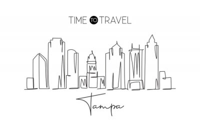 One continuous line drawing Tampa city skyline, United States. Beautiful landmark. World landscape tourism travel vacation poster. Editable stylish stroke single line draw design vector illustration