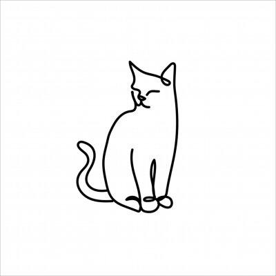 One line cat design - Hand drawn minimalism style vector illustration