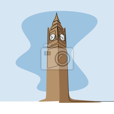 One line drawing of big ben clock tower in british london city.
